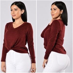 Burgundy Sweater with Knot Front